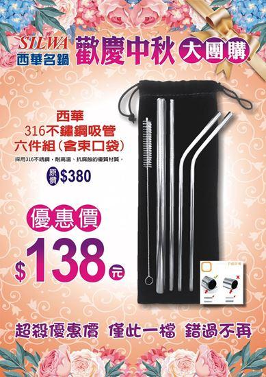 圖片 【歡慶中秋大特價】SILWA西華#316不鏽鋼吸管六件組(附提袋)